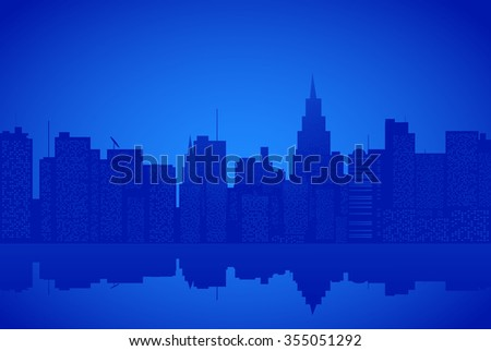 Contour of city on a blue background - stock vector