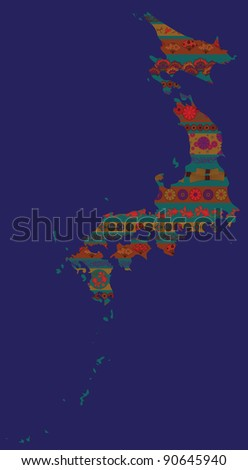 Contour of country  with ethnic Japan elements in national pattern - stock vector