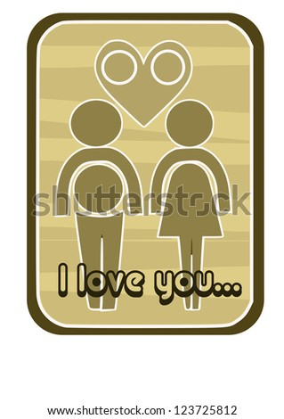 Contour of two persons - couple in love. - stock vector