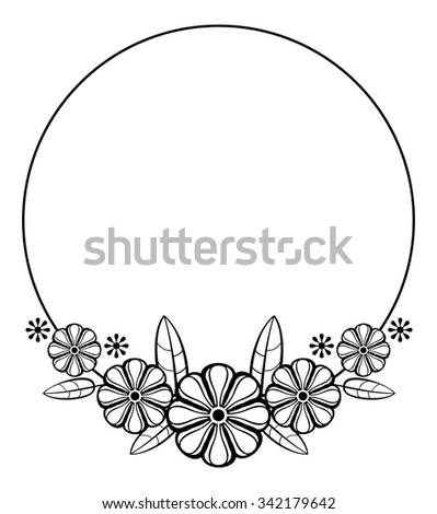 Contour round frame with decorative flowers - stock vector