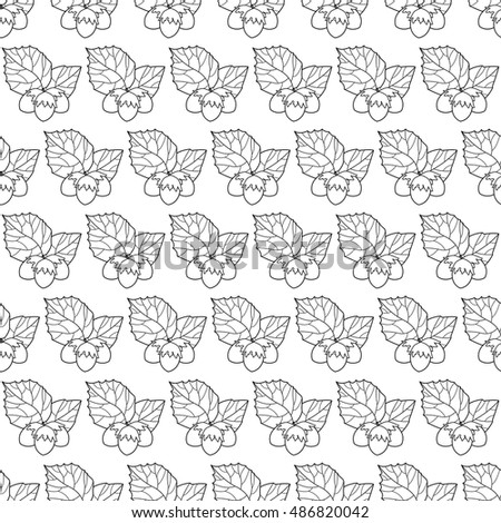 Contour seamless pattern of the hazel leaf and nuts
