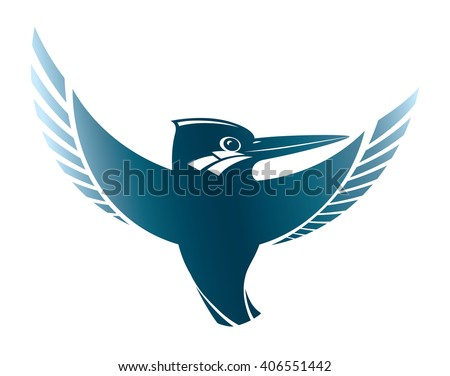contour sign stamp silhouette flying kingfisher birds in vector design bird kingfisher