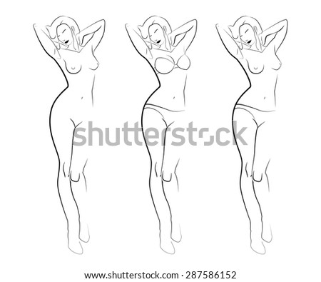 Contour silhouettes of woman body. Black line silhouettes of female body in underwear. Contours of attractive woman silhouette in lingerie (bra set, panties) and naked. Abstract fashion set of icons. - stock vector