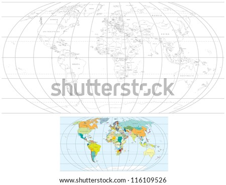 Contour Transparent World Map. Detailed Vector Political Maps with all Countries, Capitals. - stock vector