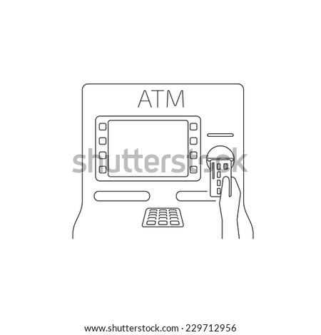 Contour vector illustrations of payment by credit card via atm. Line thickness fully editable - stock vector