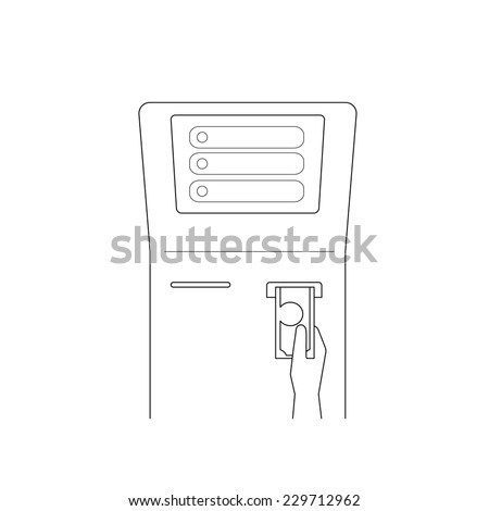 Contour vector illustrations of payment via terminal Line thickness fully editable - stock vector