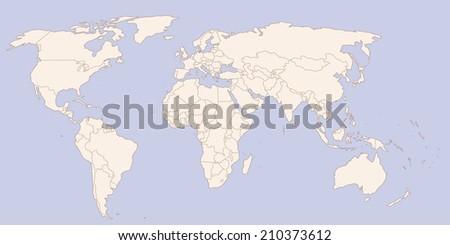 Contour world map - stock vector
