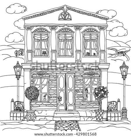 Contoured Black And White Illustration Of A House With Details For Adult Coloring Book Or