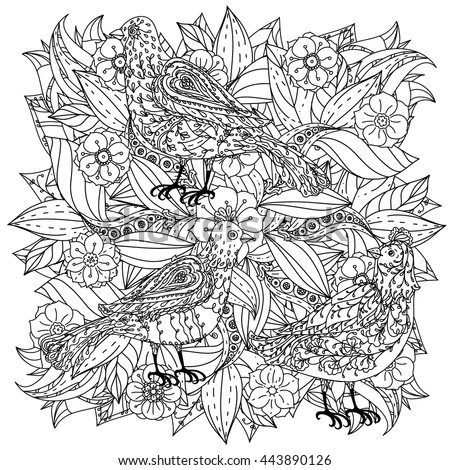 Contoured Mandala Shape Flowers And Birds For Adult Coloring Book In Zen Art Therapy Style
