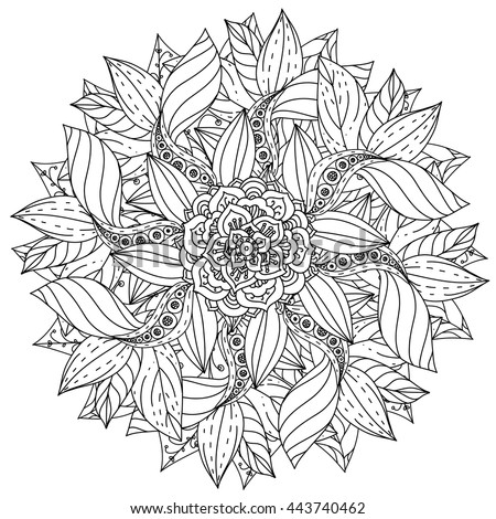 Contoured Mandala Shape Flowers For Adult Coloring Book In Zen Art Therapy Style Anti Stress
