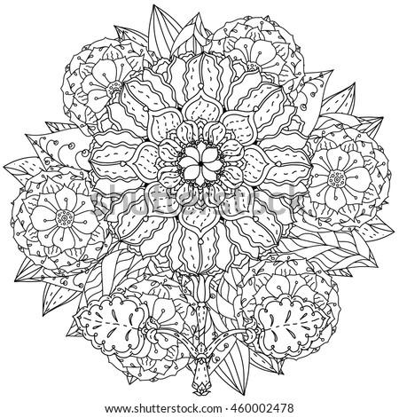 Contoured Mandala Shape Flowers Adult Coloring Stock Vector ...