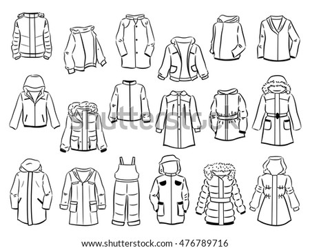 Contours of jackets for children isolated on white background