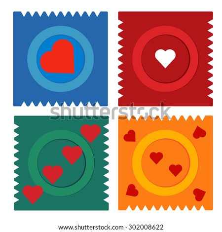 Contraception Day condom flat set icon in packing with hearts for web, illustration, apps - stock vector