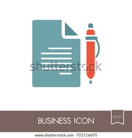 Contract Document Pencil Outline Icon Business Stock Vector
