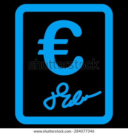Contract from BiColor Euro Banking Icon Set. Vector style: flat, blue symbol, rounded angles, black background.