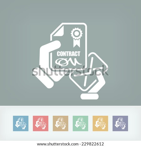 Contract icon - stock vector