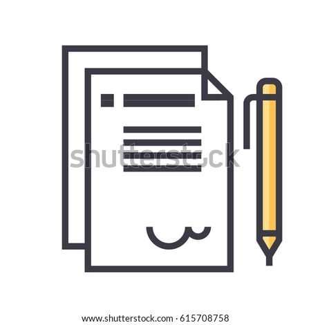 Contract Icon Symbol Signing Contract Agreement Stock Vector