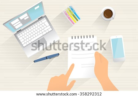 Contract on table. Working table. Human hands with document, mobile phone, computer. isolated objects.  - stock vector