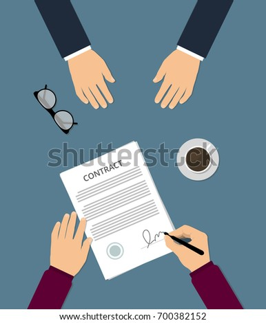 Vector Agreement Icon Hand Signing Contract Stock Vector 449181799
