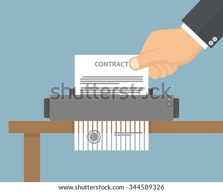 Contract termination concept. Hand putting contract paper in to the shredder machine. Flat style - stock vector