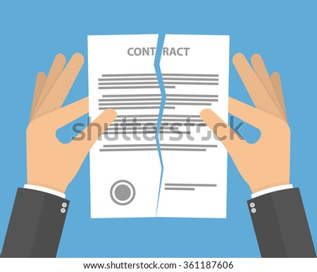 Contract termination concept. Hands tearing apart contract in half. Flat design