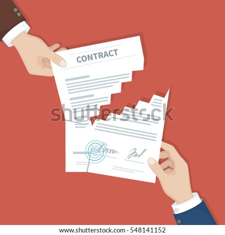 Contract Termination Concept Two Businessman Hands Stock Vector Hd