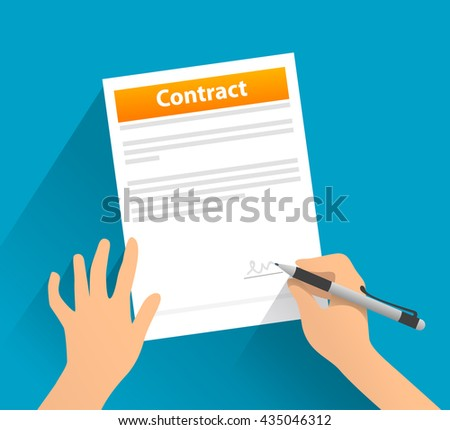 Contract with signature - flat illustration . Isolated objects. Blue background. - stock vector