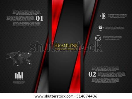 Contrast black red tech presentation brochure. Vector corporate background - stock vector
