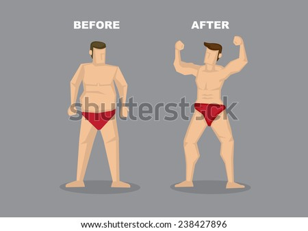 Contrast of before and after image of successful weight loss - man in red brief with fat beer belly transformed into a confident muscular man. Vector illustration isolated on  grey background. - stock vector