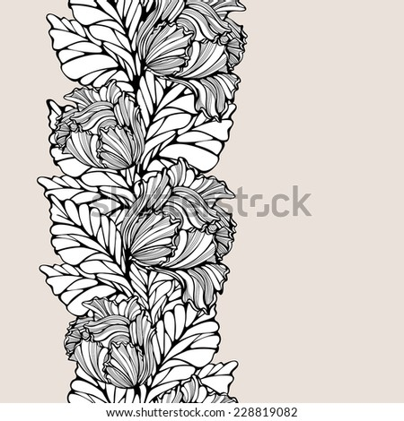 Contrast vertical seamless pattern with leaves and tulips. Abstract floral background with line art lacy repeatable ornament. Vintage drawing. Copy space. Vector is EPS8. - stock vector
