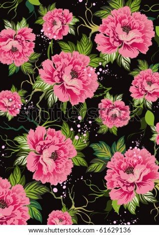 contrasting background of roses and leaves on a black