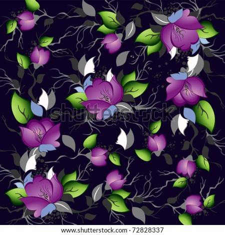 contrasting background of roses and leaves on a black - stock vector
