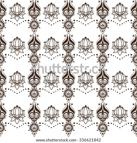 Contrasting seamless pattern in Indian mehndi style, oriental pagan motif with lotuses, dots, floral elements, swirls and sun. Feminine style for Asian wedding theme. - stock vector