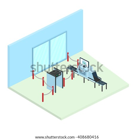 Control in airport. Part of the interior. Isometric vector illustration