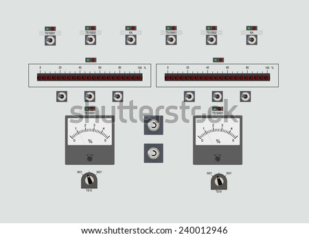 Control panel with buttons, indicator and bulbs - stock vector