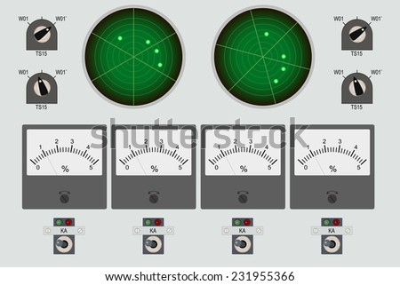 Control panel  with radars and buttons - stock vector