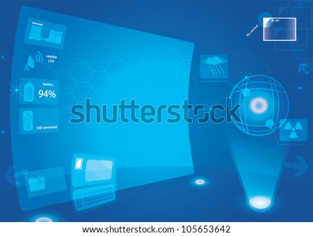control room abstract background big screen hi technology - stock vector