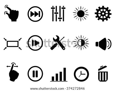 control setting icons set