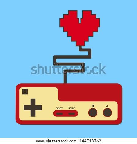 Controller pad control life heart. vector. eps10 - stock vector
