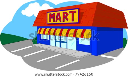 Convenient Store/ Convenient store isolated in parking lot - stock vector