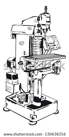conventional milling machine with control panel - stock vector