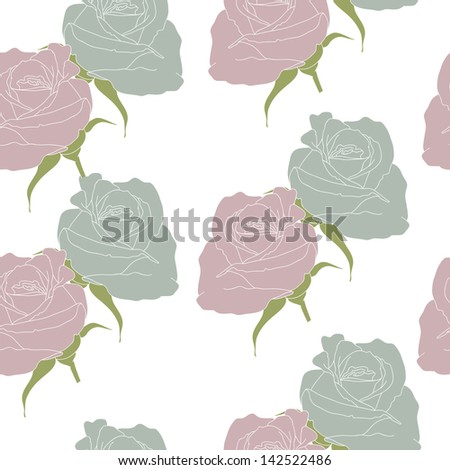 Conventionalized roses on the white  background