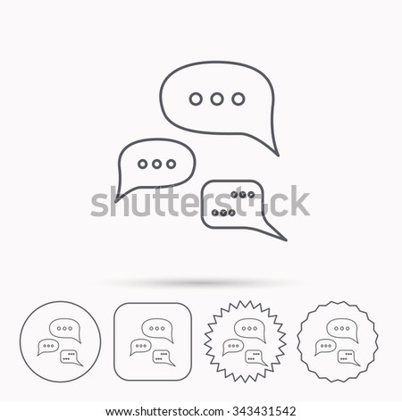 Conversation icon. Chat speech bubbles sign. Communication clouds symbol. Linear circle, square and star buttons with icons. - stock vector