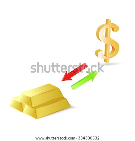 Conversion Dollars Into Gold Market Exchange Stock Vector 334300532