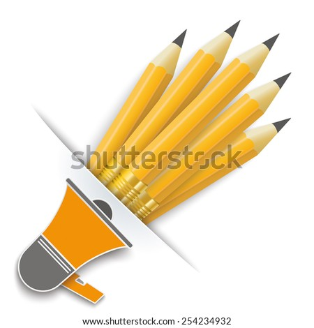Convert pencils with bullhorn on the white background. Eps 10 vector file. - stock vector