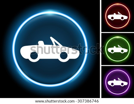 Convertible Car on Glow Round Button