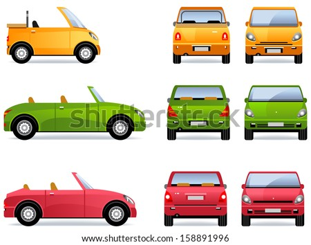 Convertible Car. Pixel optimized. Elements are in the separate layers.  In the side, back and front views. - stock vector