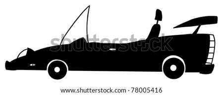 Convertible Cartoon Silhouette Car