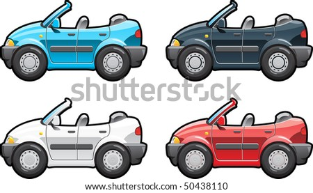 Convertible. part of my collections  of Car body style. Simple gradients only - no gradient mesh - stock vector