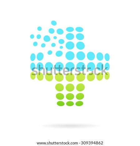 Convex medical cross, 3d glassy vector on white background, cross shape, eps 8 - stock vector